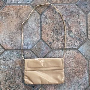 Vintage Nude Shoulder Purse with Gold Details